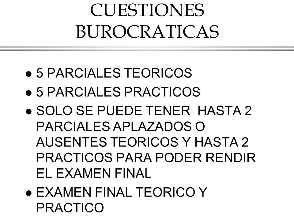 CUESTIONES BUROCRATICAS l 5 PARCIALES TEORICOS l 5 PARCIALES PRACTICOS l SOLO SE PUEDE TENER HASTA 2 PARCIALES APLAZADOS O AUSENTES TEORICOS Y HASTA 2 PRACTICOS PARA PODER RENDIR EL EXAMEN FINAL l EXAMEN FINAL TEORICO Y PRACTICO