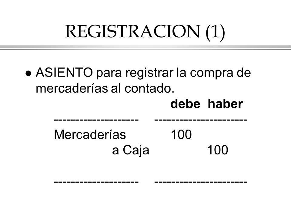 REGISTRACION (1) l ASIENTO para registrar la compra de mercaderías al contado.