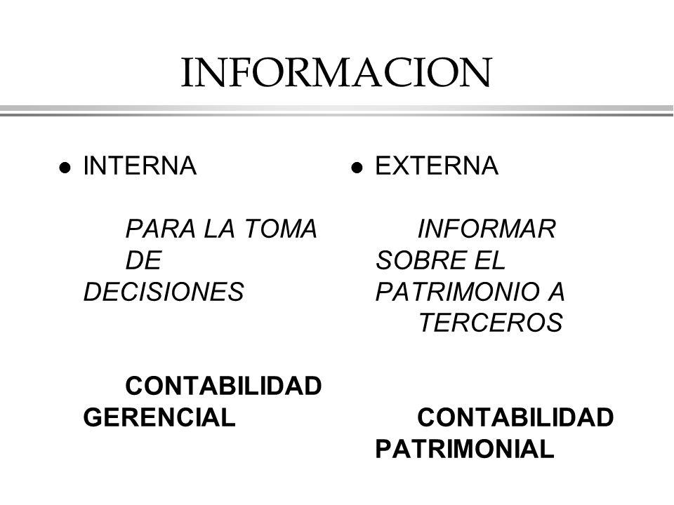 INFORMACION l INTERNA PARA LA TOMA DE DECISIONES CONTABILIDAD GERENCIAL l EXTERNA INFORMAR SOBRE EL PATRIMONIO A TERCEROS CONTABILIDAD PATRIMONIAL