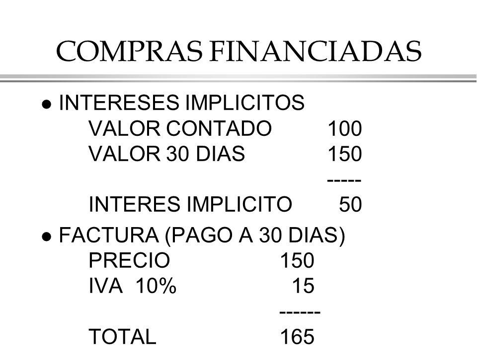 COMPRAS FINANCIADAS l INTERESES IMPLICITOS VALOR CONTADO100 VALOR 30 DIAS150 ----- INTERES IMPLICITO 50 l FACTURA (PAGO A 30 DIAS) PRECIO150 IVA 10% 15 ------ TOTAL165