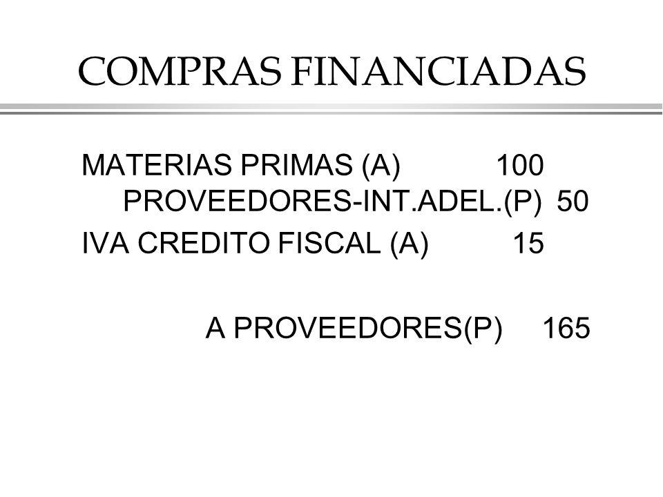 COMPRAS FINANCIADAS MATERIAS PRIMAS (A) 100 PROVEEDORES-INT.ADEL.(P) 50 IVA CREDITO FISCAL (A) 15 A PROVEEDORES(P) 165