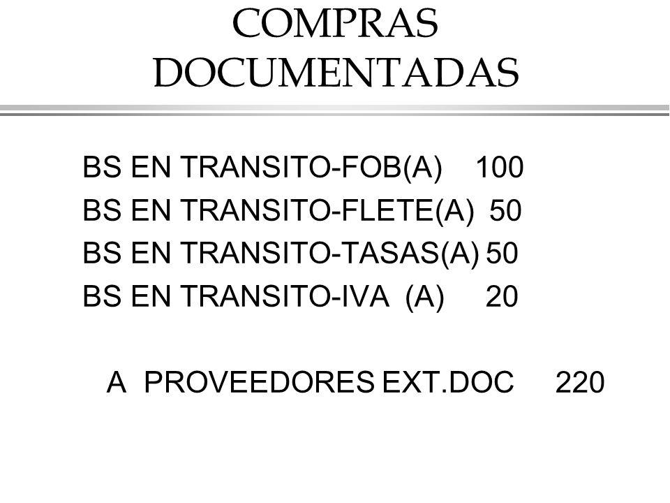 COMPRAS DOCUMENTADAS BS EN TRANSITO-FOB(A) 100 BS EN TRANSITO-FLETE(A) 50 BS EN TRANSITO-TASAS(A) 50 BS EN TRANSITO-IVA (A) 20 A PROVEEDORES EXT.DOC 220