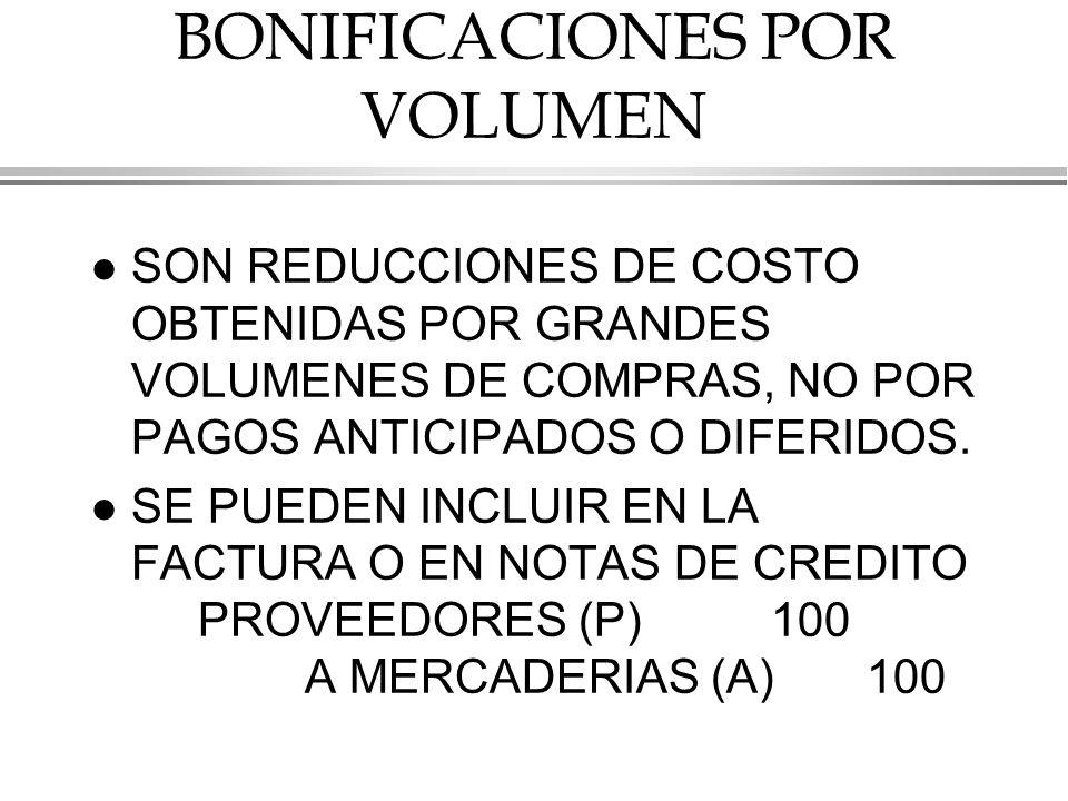 BONIFICACIONES POR VOLUMEN l SON REDUCCIONES DE COSTO OBTENIDAS POR GRANDES VOLUMENES DE COMPRAS, NO POR PAGOS ANTICIPADOS O DIFERIDOS.