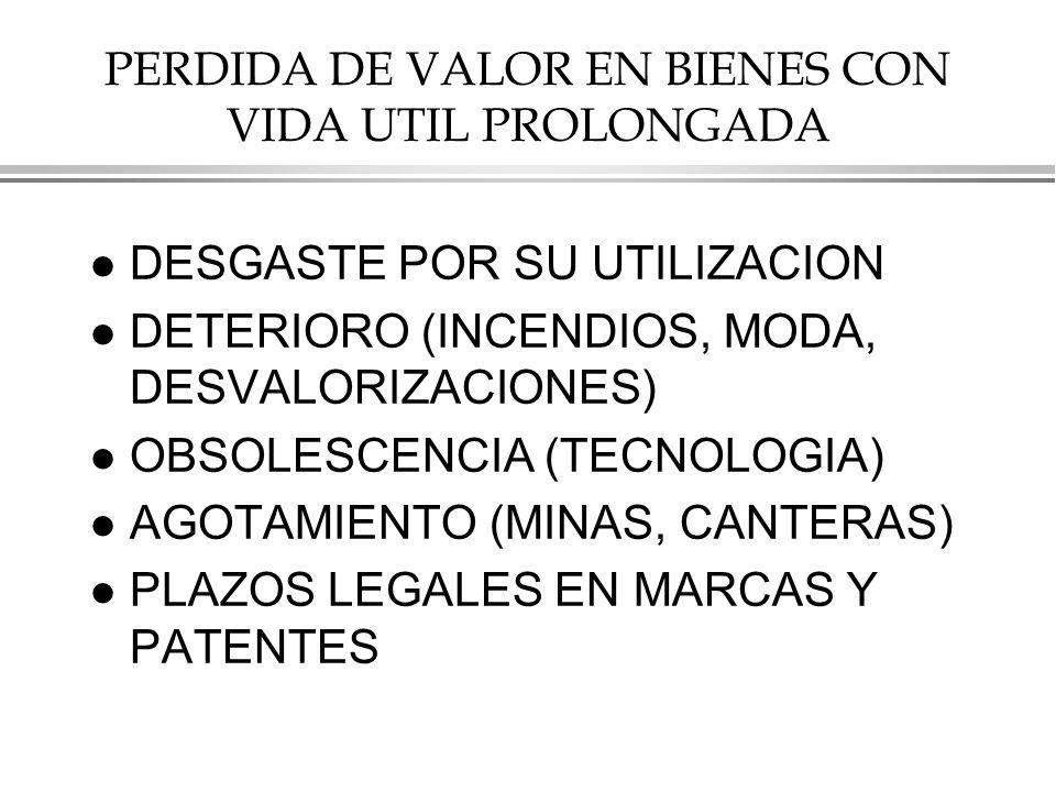 PERDIDA DE VALOR EN BIENES CON VIDA UTIL PROLONGADA l DESGASTE POR SU UTILIZACION l DETERIORO (INCENDIOS, MODA, DESVALORIZACIONES) l OBSOLESCENCIA (TECNOLOGIA) l AGOTAMIENTO (MINAS, CANTERAS) l PLAZOS LEGALES EN MARCAS Y PATENTES