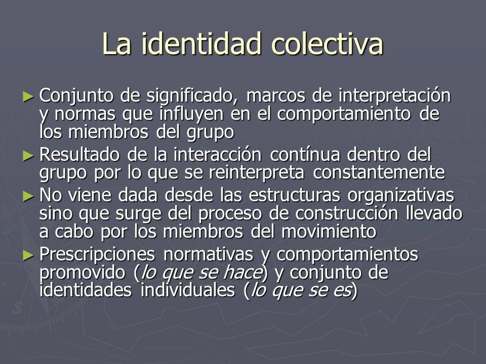 La identidad colectiva Conjunto de significado, marcos de interpretación y normas que influyen en el comportamiento de los miembros del grupo Conjunto