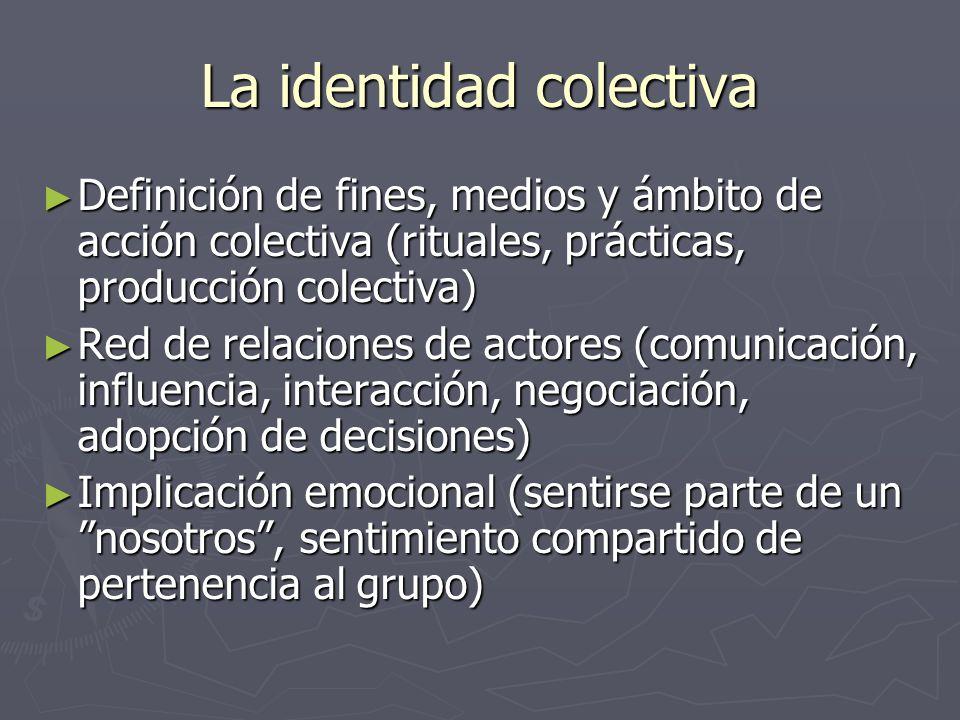 La identidad colectiva Definición de fines, medios y ámbito de acción colectiva (rituales, prácticas, producción colectiva) Definición de fines, medio