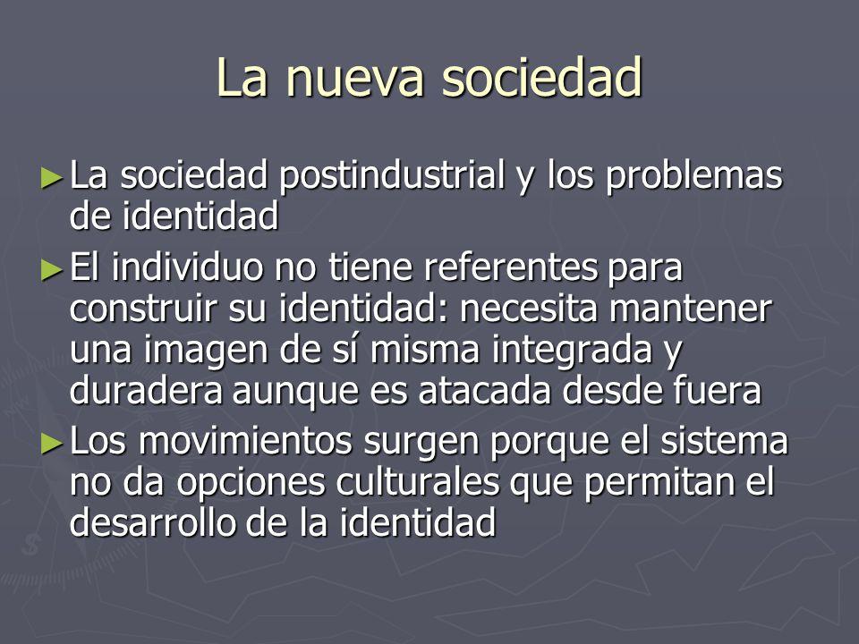 La nueva sociedad La sociedad postindustrial y los problemas de identidad La sociedad postindustrial y los problemas de identidad El individuo no tien