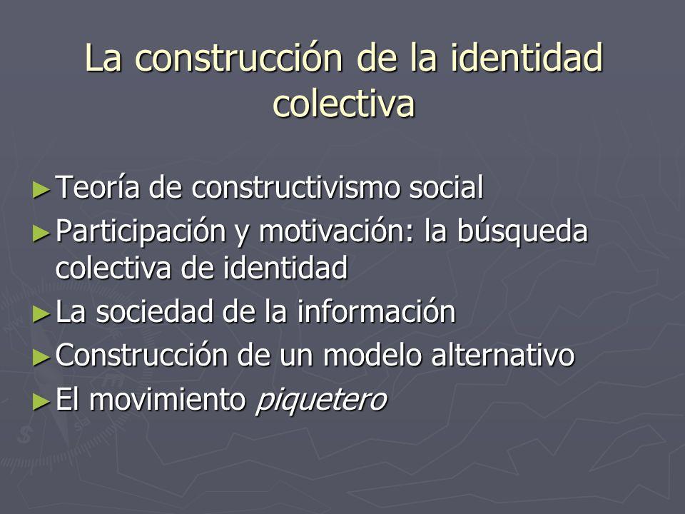 La construcción de la identidad colectiva Teoría de constructivismo social Teoría de constructivismo social Participación y motivación: la búsqueda co