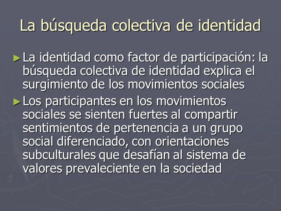 La búsqueda colectiva de identidad La identidad como factor de participación: la búsqueda colectiva de identidad explica el surgimiento de los movimie