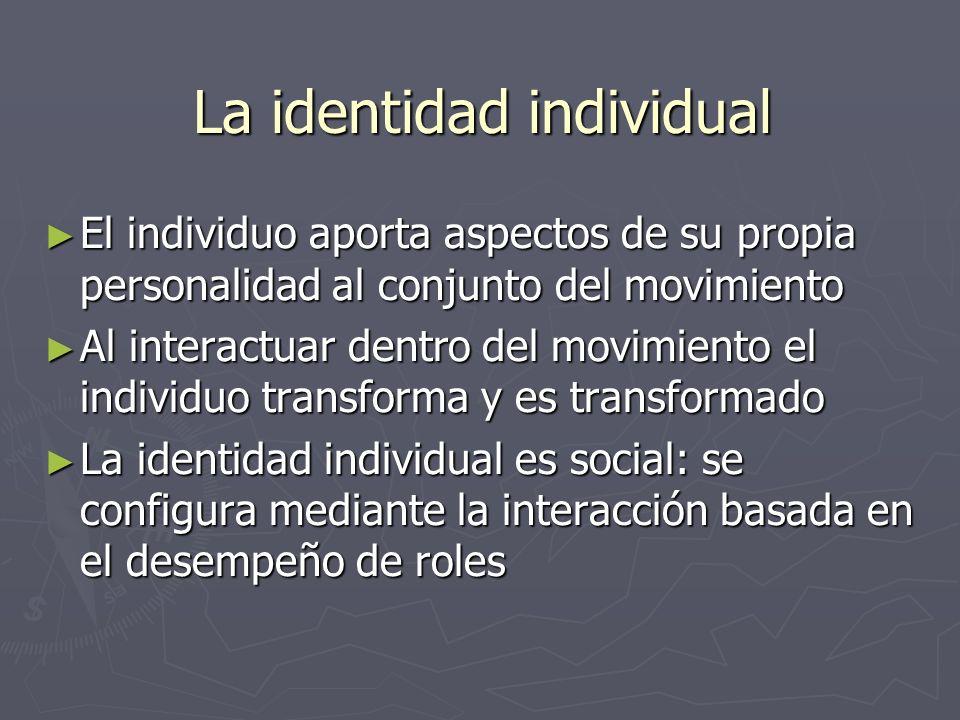 La identidad individual El individuo aporta aspectos de su propia personalidad al conjunto del movimiento El individuo aporta aspectos de su propia pe