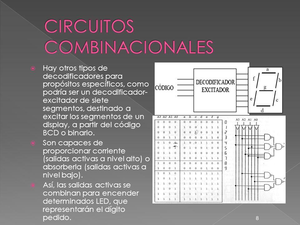 Hay otros tipos de decodificadores para propósitos específicos, como podría ser un decodificador- excitador de siete segmentos, destinado a excitar lo