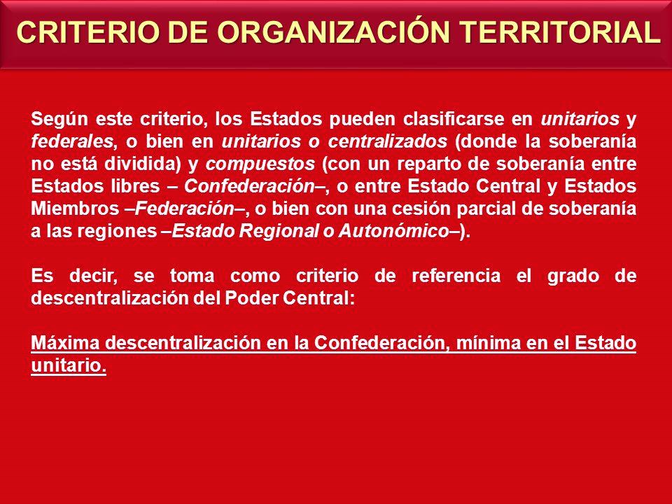 CRITERIO DE ORGANIZACIÓN TERRITORIAL Según este criterio, los Estados pueden clasificarse en unitarios y federales, o bien en unitarios o centralizado