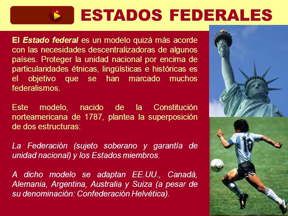 ESTADOS FEDERALES El Estado federal es un modelo quizá más acorde con las necesidades descentralizadoras de algunos países. Proteger la unidad naciona