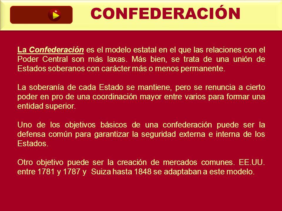 La Confederación es el modelo estatal en el que las relaciones con el Poder Central son más laxas. Más bien, se trata de una unión de Estados soberano