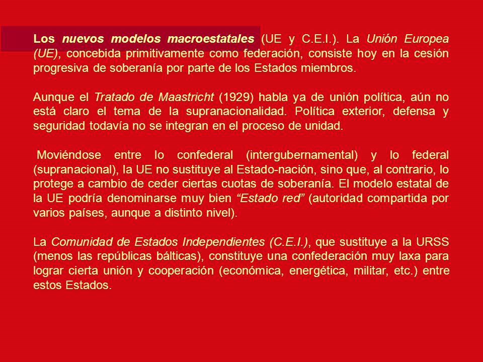 Los nuevos modelos macroestatales (UE y C.E.I.). La Unión Europea (UE), concebida primitivamente como federación, consiste hoy en la cesión progresiva