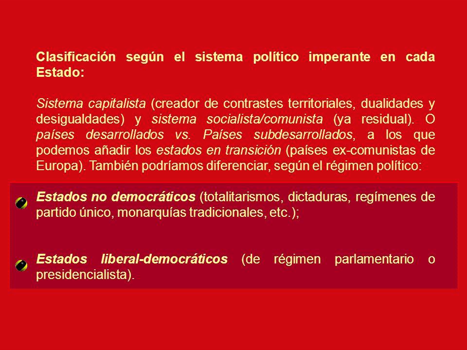 Clasificación según el sistema político imperante en cada Estado: Sistema capitalista (creador de contrastes territoriales, dualidades y desigualdades
