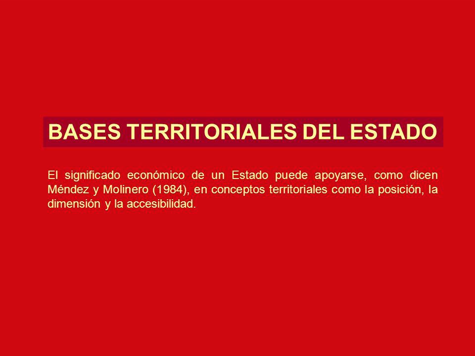 BASES TERRITORIALES DEL ESTADO El significado económico de un Estado puede apoyarse, como dicen Méndez y Molinero (1984), en conceptos territoriales c