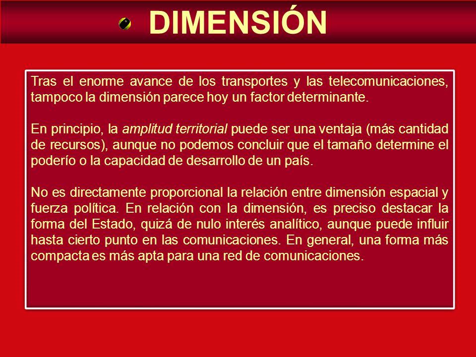 DIMENSIÓN Tras el enorme avance de los transportes y las telecomunicaciones, tampoco la dimensión parece hoy un factor determinante. En principio, la