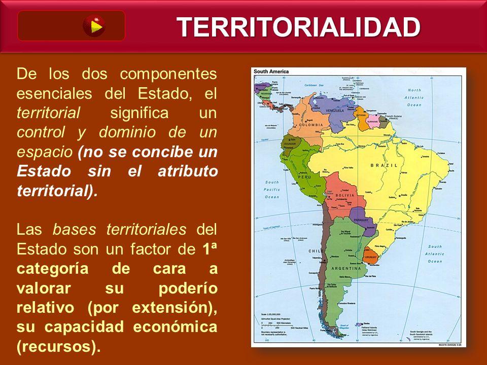 De los dos componentes esenciales del Estado, el territorial significa un control y dominio de un espacio (no se concibe un Estado sin el atributo ter