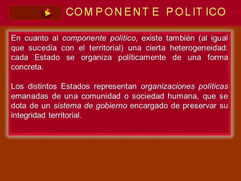 En cuanto al componente político, existe también (al igual que sucedía con el territorial) una cierta heterogeneidad: cada Estado se organiza política