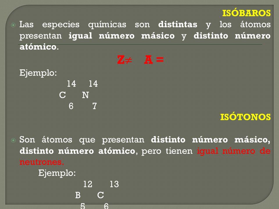 Isótopos: Son los átomos de un mismo elemento que, en su núcleo, presentan igual número atómico, pero distinto número másico. iso que significa igual