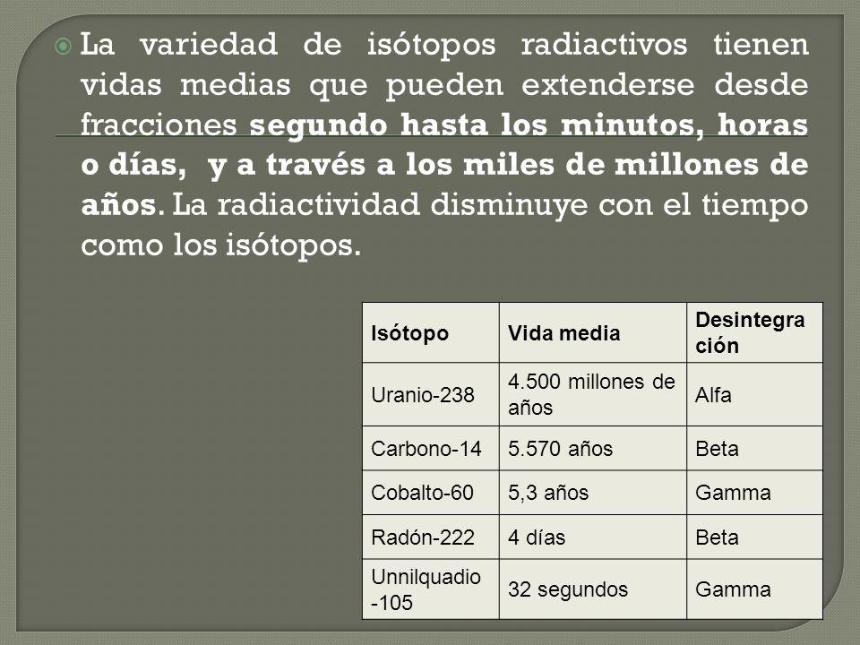 Para referirse a la velocidad con que ocurren las desintegraciones nucleares utilizamos el concepto de vida media. Llamamos vida media de un elemento