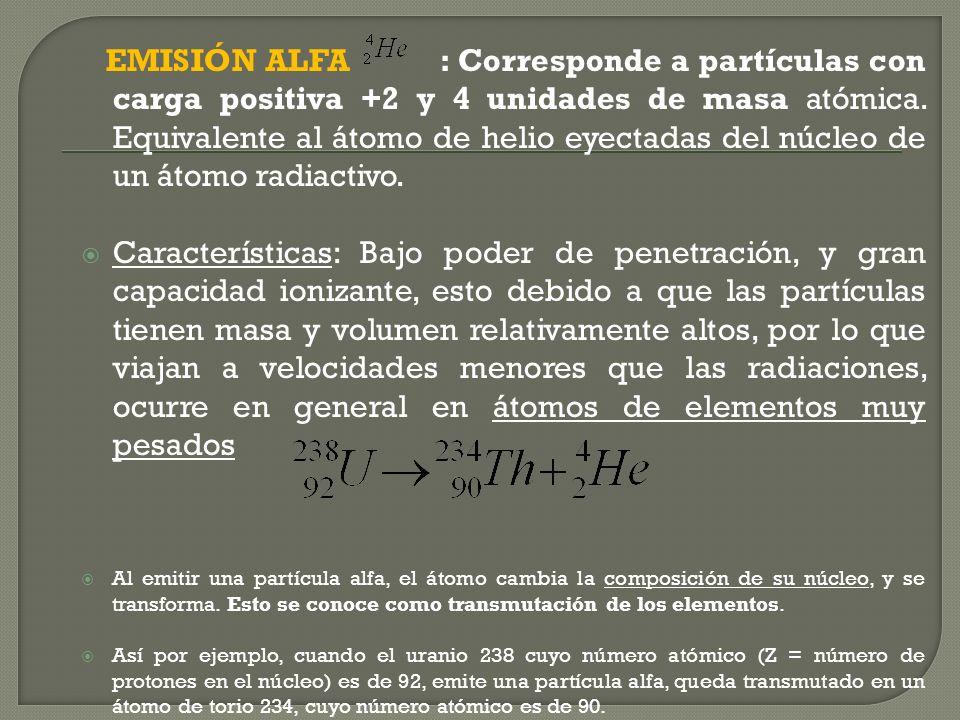 Emisión de partículas alfa ( α ) Emisión de partículas beta ( β ) Emisión de rayos gamma ( γ ) Emisión de positrones ( β +) Captura electrónica (CE) E