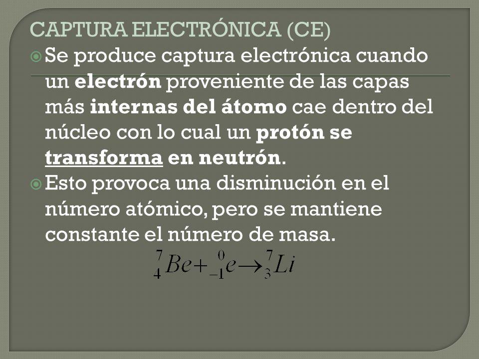 EMISION DE POSITRONES La emisión de positrones se produce cuando un protón del núcleo se transforma en un neutrón emitiendo una partícula denominada p