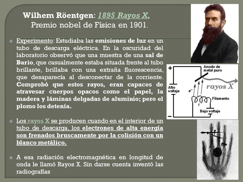 Wilhem Röentgen: 1895 Rayos X, Premio nobel de Física en 1901.