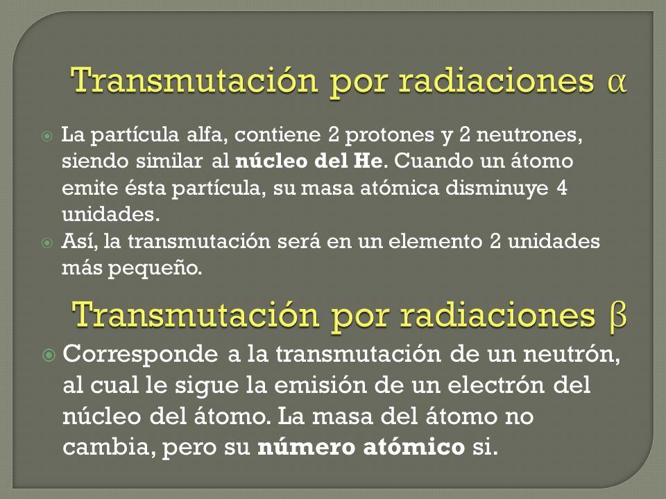 Transmutación por radiaciones alfa Transmutación por radiaciones beta Transmutación por radiaciones gamma