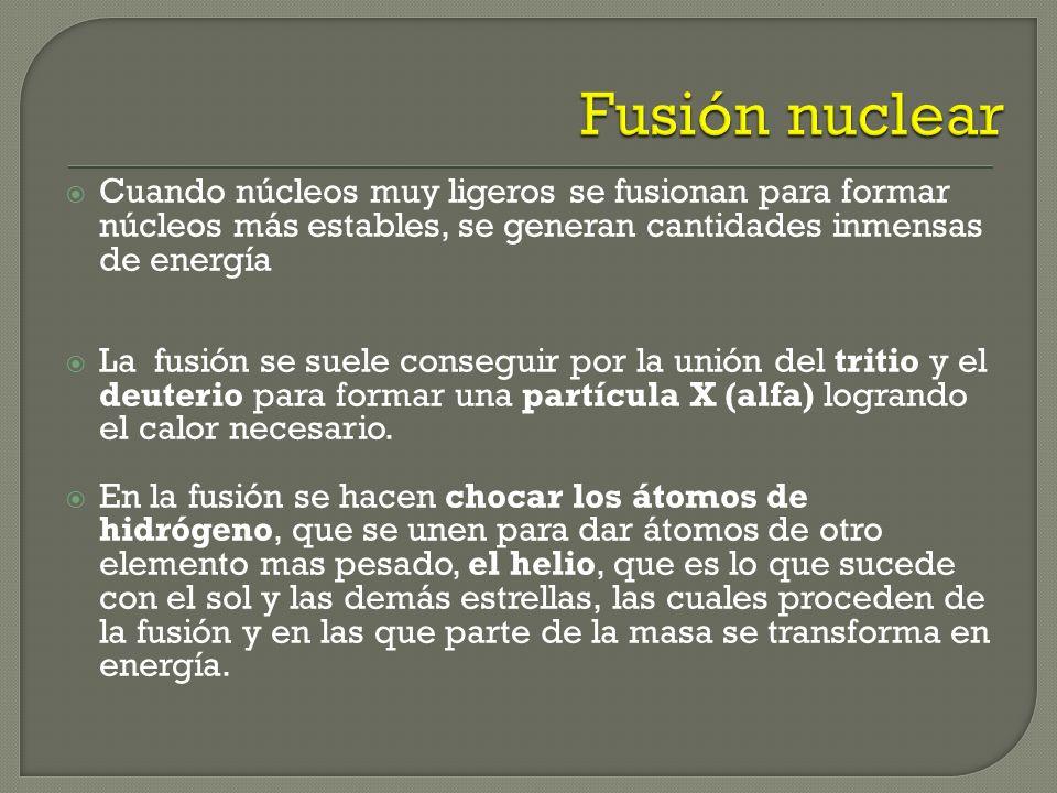Estas reacciones corresponden a la fusión nuclear y son el origen de la energía que produce el sol. La fusión parece ser una fuente de energía bastant