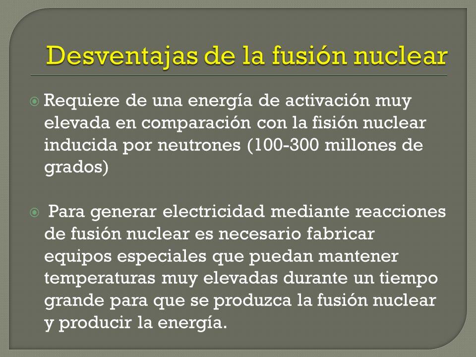 Proporciona mas energía que la fisión nuclear. Fuente inagotable, ya que se basa en el agua, un recurso abundante, barato y limpio No requiere de una