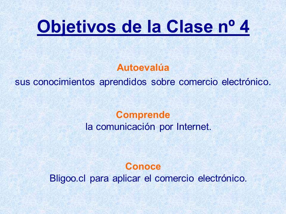Objetivos de la Clase nº 4 Autoevalúa sus conocimientos aprendidos sobre comercio electrónico.