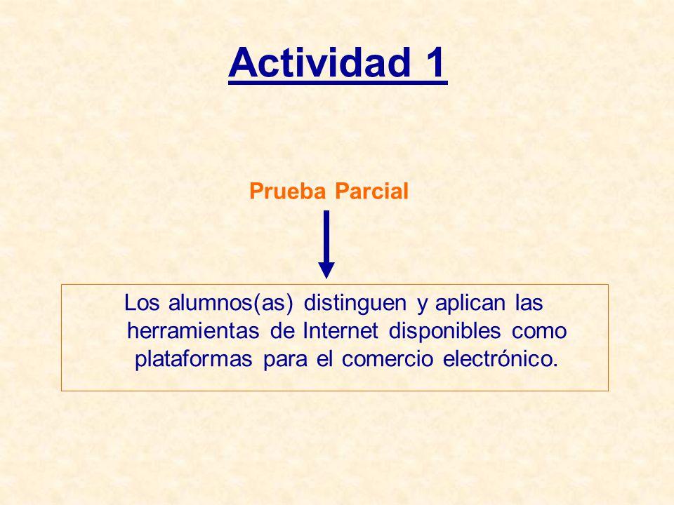 Actividad 1 Prueba Parcial Los alumnos(as) distinguen y aplican las herramientas de Internet disponibles como plataformas para el comercio electrónico.