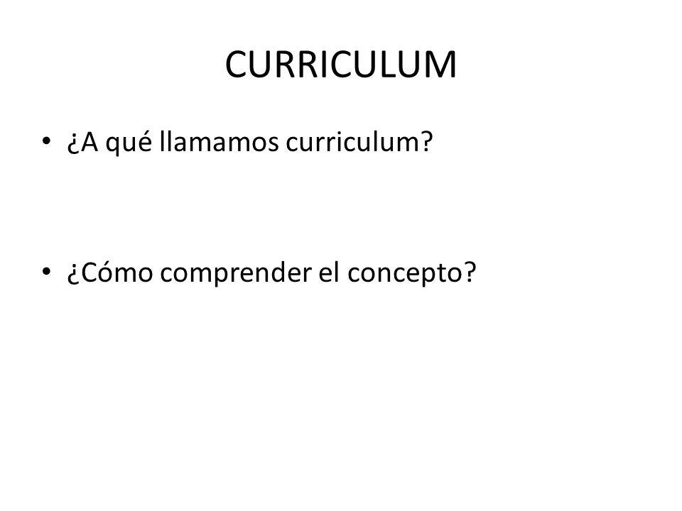 CURRICULUM ¿A qué llamamos curriculum? ¿Cómo comprender el concepto?