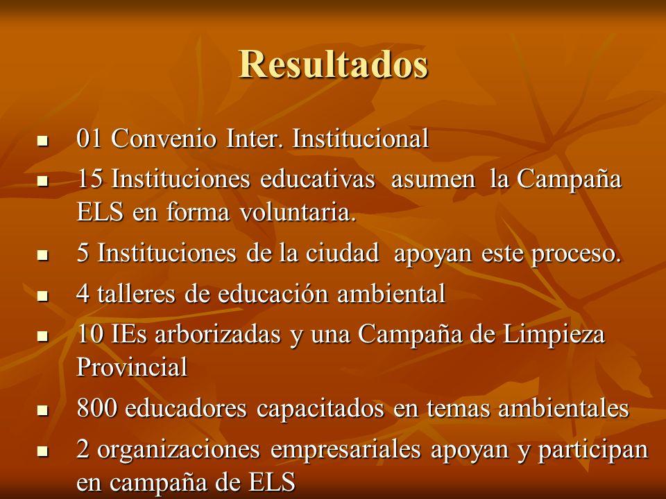 Resultados 01 Convenio Inter. Institucional 01 Convenio Inter. Institucional 15 Instituciones educativas asumen la Campaña ELS en forma voluntaria. 15