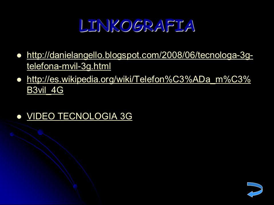 LINKOGRAFIA http://danielangello.blogspot.com/2008/06/tecnologa-3g- telefona-mvil-3g.html http://danielangello.blogspot.com/2008/06/tecnologa-3g- tele