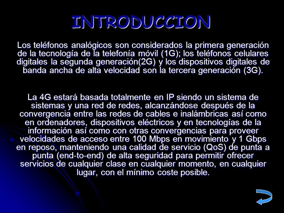 PASADO, PRESENTE Y FUTURO DE LAS TELECOMUNICACIONES 1G: Red celular analógica = Conmutación de circuitos 2G: Red celular digital (GSM) = Conmutación de circuitos 2,5 G: Red celular digital (GPRS) = Conmutación de paquetes 3G: Red celular digital UMTS = Conmutación de paquetes 4G: Red celular digital multimedia = Todo IP (VoIP ) 1G: Red celular analógica = Conmutación de circuitos 2G: Red celular digital (GSM) = Conmutación de circuitos 2,5 G: Red celular digital (GPRS) = Conmutación de paquetes 3G: Red celular digital UMTS = Conmutación de paquetes 4G: Red celular digital multimedia = Todo IP (VoIP ) INTRODUCCION