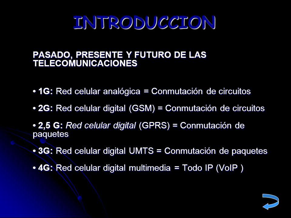 PASADO, PRESENTE Y FUTURO DE LAS TELECOMUNICACIONES 1G: Red celular analógica = Conmutación de circuitos 2G: Red celular digital (GSM) = Conmutación d