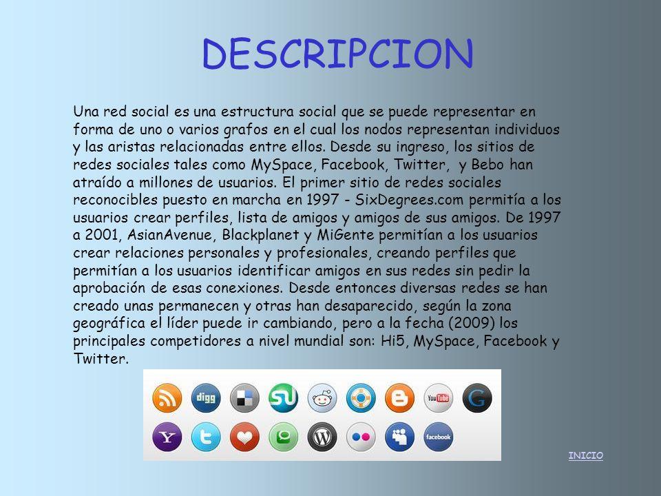 DESCRIPCION INICIO Una red social es una estructura social que se puede representar en forma de uno o varios grafos en el cual los nodos representan i