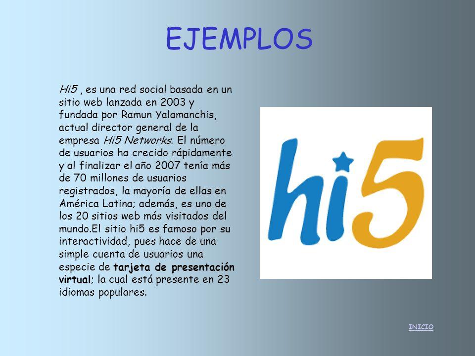 INICIO Hi5, es una red social basada en un sitio web lanzada en 2003 y fundada por Ramun Yalamanchis, actual director general de la empresa Hi5 Networ