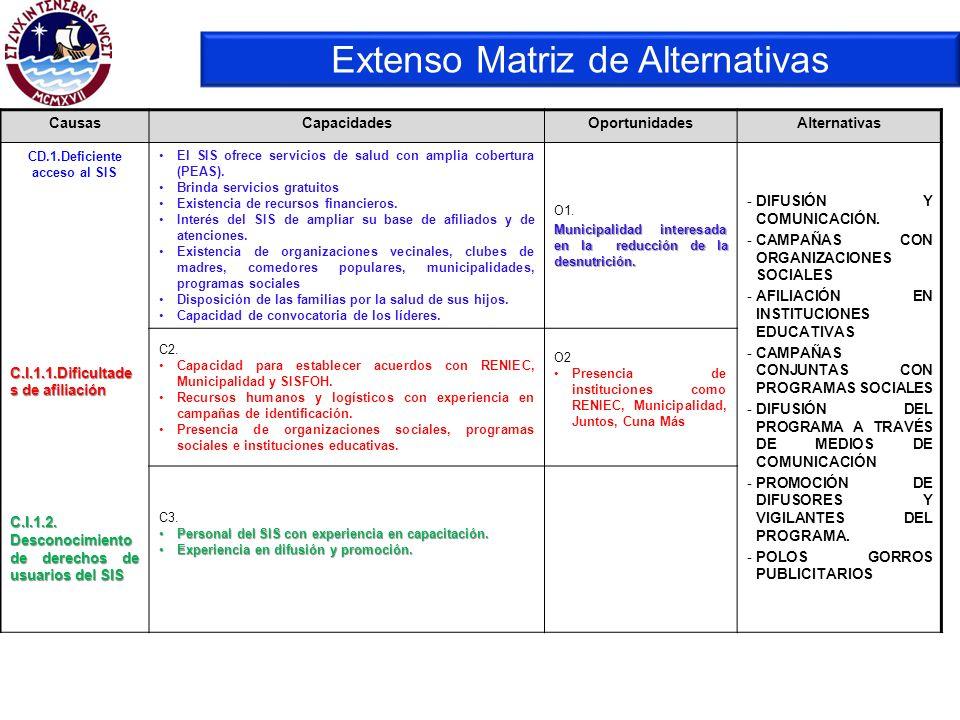 Extenso Matriz de Alternativas CausasCapacidadesOportunidadesAlternativas CD.1.Deficiente acceso al SIS C.I.1.1.Dificultade s de afiliación C.I.1.2. D