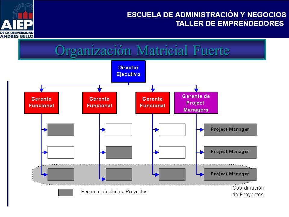 ESCUELA DE ADMINISTRACIÓN Y NEGOCIOS TALLER DE EMPRENDEDORES Organización Matricial Fuerte