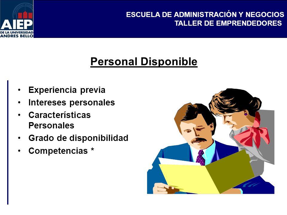 ESCUELA DE ADMINISTRACIÓN Y NEGOCIOS TALLER DE EMPRENDEDORES Experiencia previa Intereses personales Características Personales Grado de disponibilida