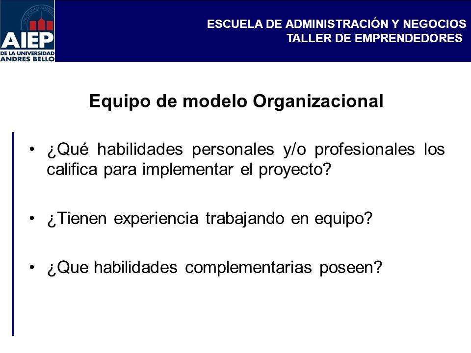ESCUELA DE ADMINISTRACIÓN Y NEGOCIOS TALLER DE EMPRENDEDORES Equipo de modelo Organizacional ¿Qué habilidades personales y/o profesionales los califica para implementar el proyecto.