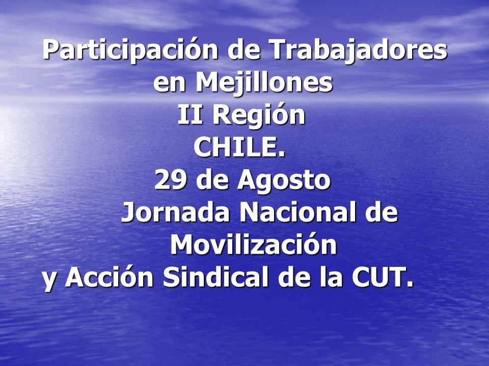 Participación de Trabajadores en Mejillones II Región CHILE. 29 de Agosto Jornada Nacional de Movilización y Acción Sindical de la CUT. Movilización y