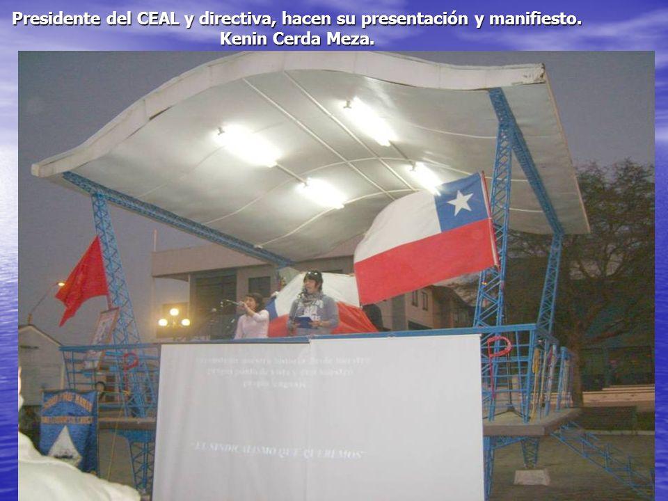 Presidente del CEAL y directiva, hacen su presentación y manifiesto. Kenin Cerda Meza.