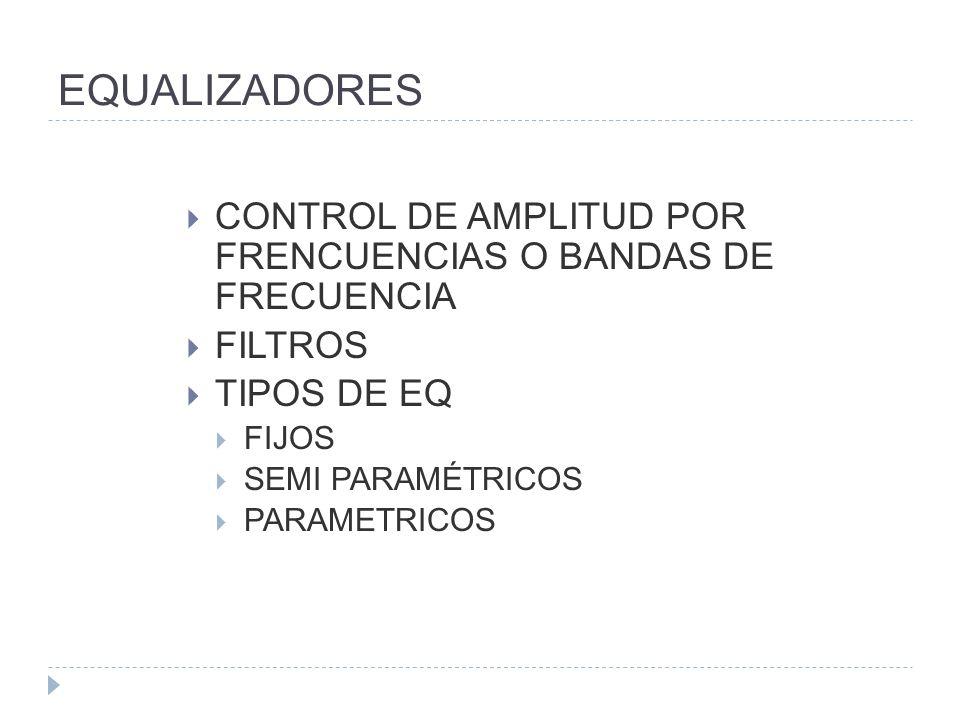 EQUALIZADORES CONTROL DE AMPLITUD POR FRENCUENCIAS O BANDAS DE FRECUENCIA FILTROS TIPOS DE EQ FIJOS SEMI PARAMÉTRICOS PARAMETRICOS