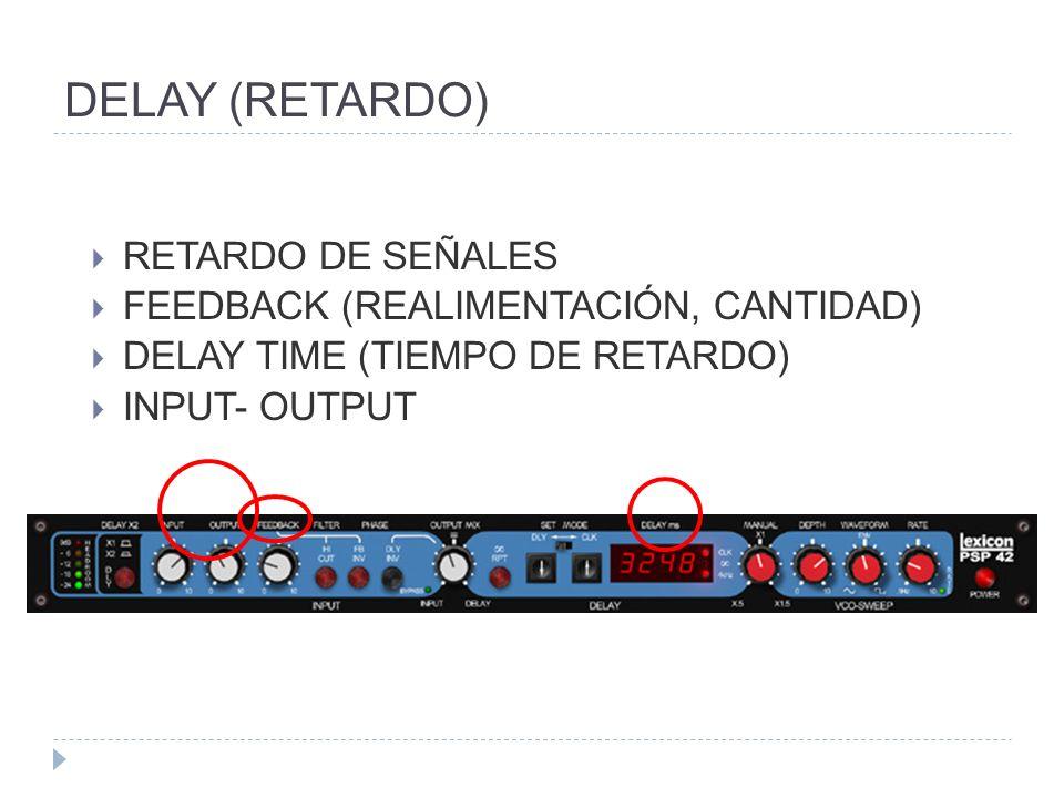 DELAY (RETARDO) RETARDO DE SEÑALES FEEDBACK (REALIMENTACIÓN, CANTIDAD) DELAY TIME (TIEMPO DE RETARDO) INPUT- OUTPUT
