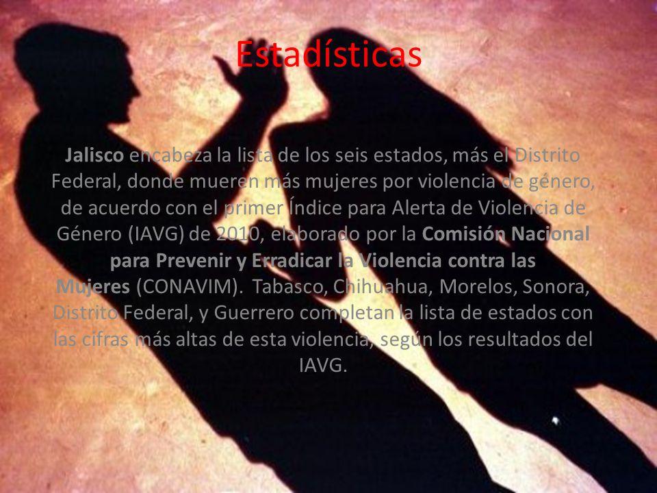 Estadísticas Jalisco encabeza la lista de los seis estados, más el Distrito Federal, donde mueren más mujeres por violencia de género, de acuerdo con